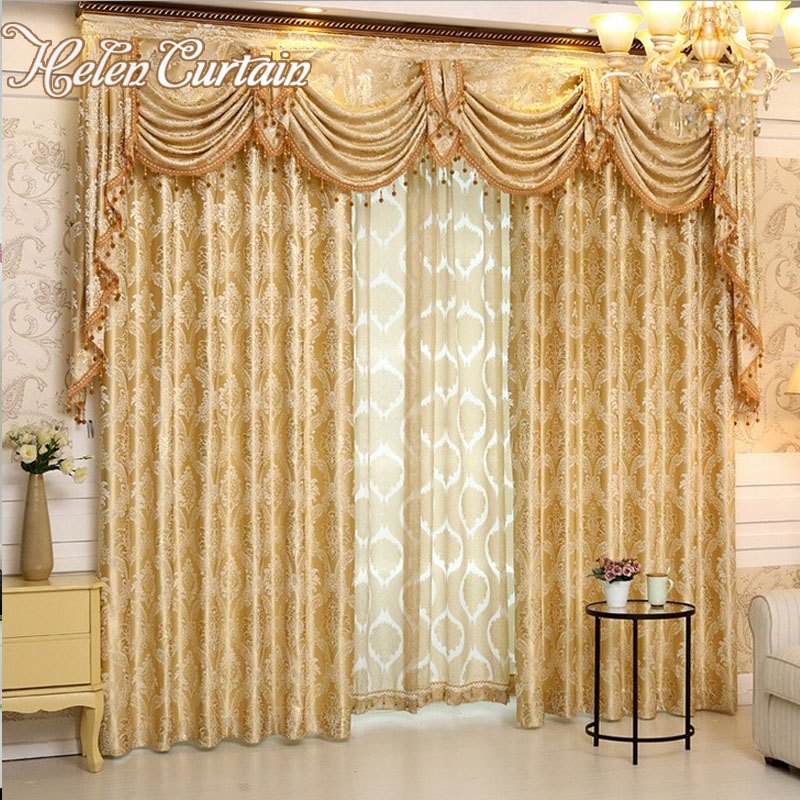 Helen curtain luxury europe style curtains with valance for Living room valances