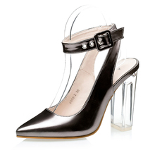 2016 Stransparent Crystal Thin Rome Crude Ankle PU Leather Ladies High Heels Women Sandals Shoes