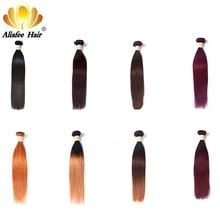 "Aliafee Hair Brazilian Hair Weave Bundles Straight Ombre Hair Bundles #1b#2/#4/#99/#27 Non Remy 8""-30"" 100% Human Hair Extension"