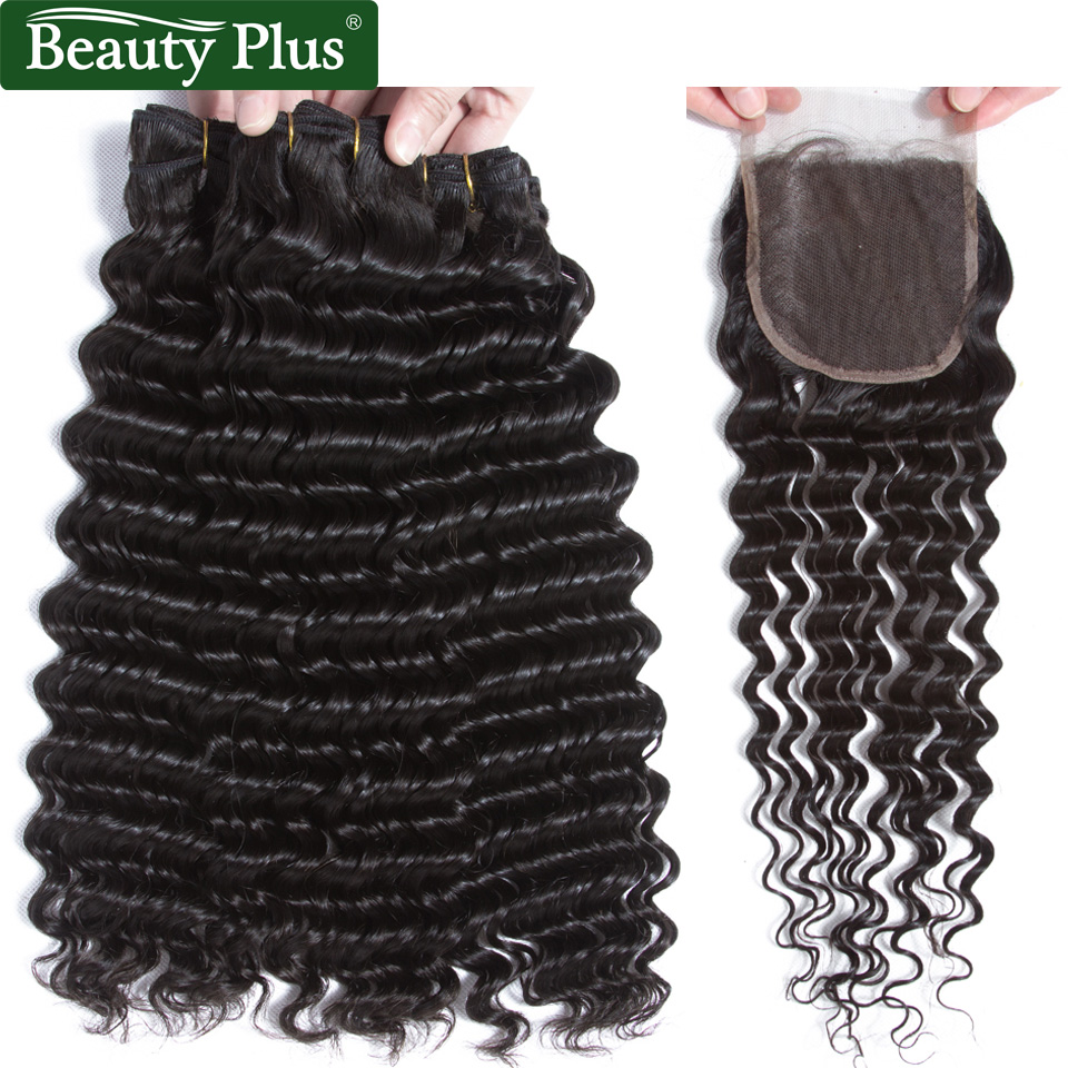 Deep Wave Hair Bundles With Closure Malaysian Remy Human Hair Weave 2/3 Bundles With Closure Natural Black Color Beauty Plus