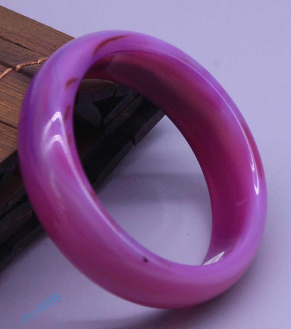อุปกรณ์เสริม 56-66 มิลลิเมตรได้รับการรับรองธรรมชาติสีแดงอาเกตสีม่วงหยกสร้อยข้อมือกำไลข้อมือ