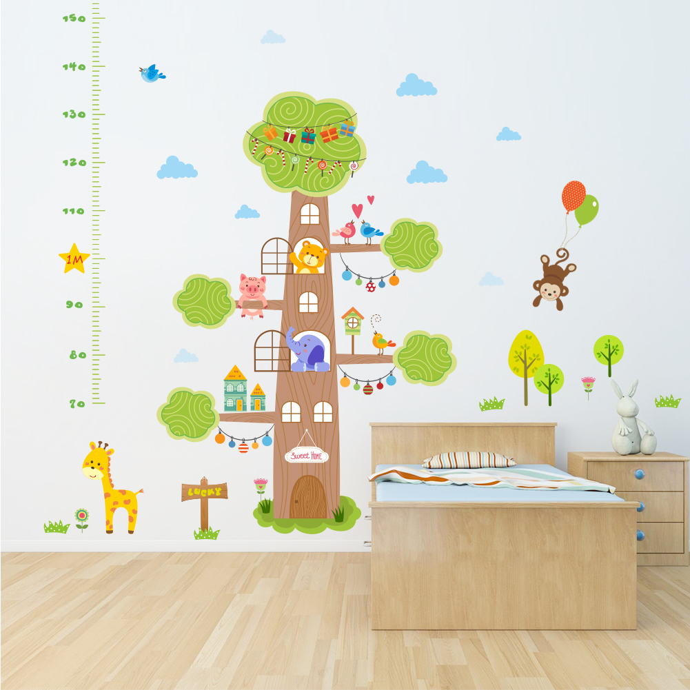 forest animals sweet home house tree giraffe monkey height measure growth chart wall sticker kids nursery bedroom decor decal. Interior Design Ideas. Home Design Ideas
