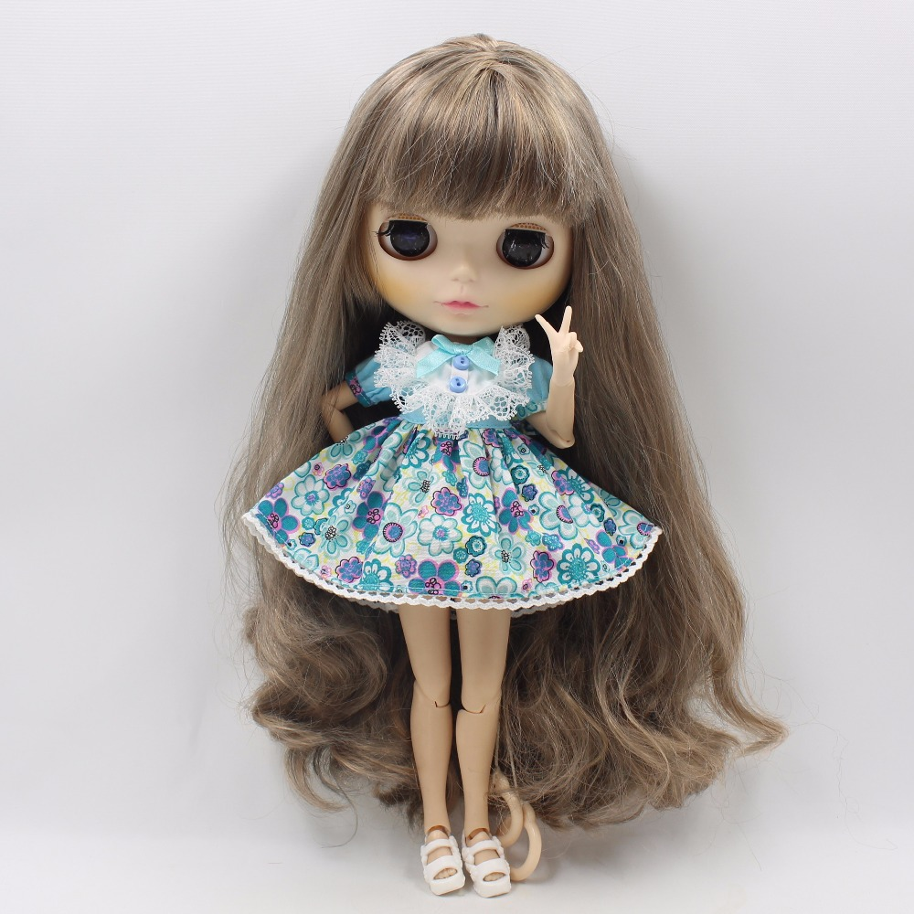 Neo Blythe Doll Blue Flower Outfit With Headdress Dress 1