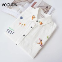 VOGUE N New Womens Ladies Spring Floral Horse Bird Embroidery Long Sleeve Button Down Shirt Casual