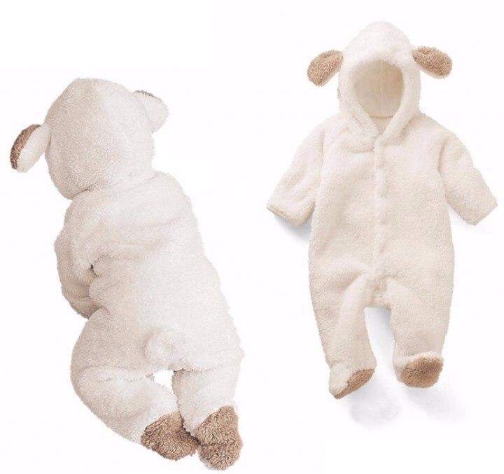 Комбинезон для новорожденных, зимний костюм для маленьких мальчиков, теплая одежда из кораллового флиса для маленьких девочек, комбинезон ...