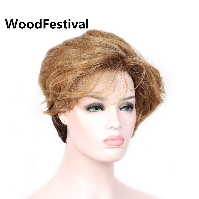 WoodFestival blonde short curly wig synthetic hair wigs for women heat resistant fiber w ...