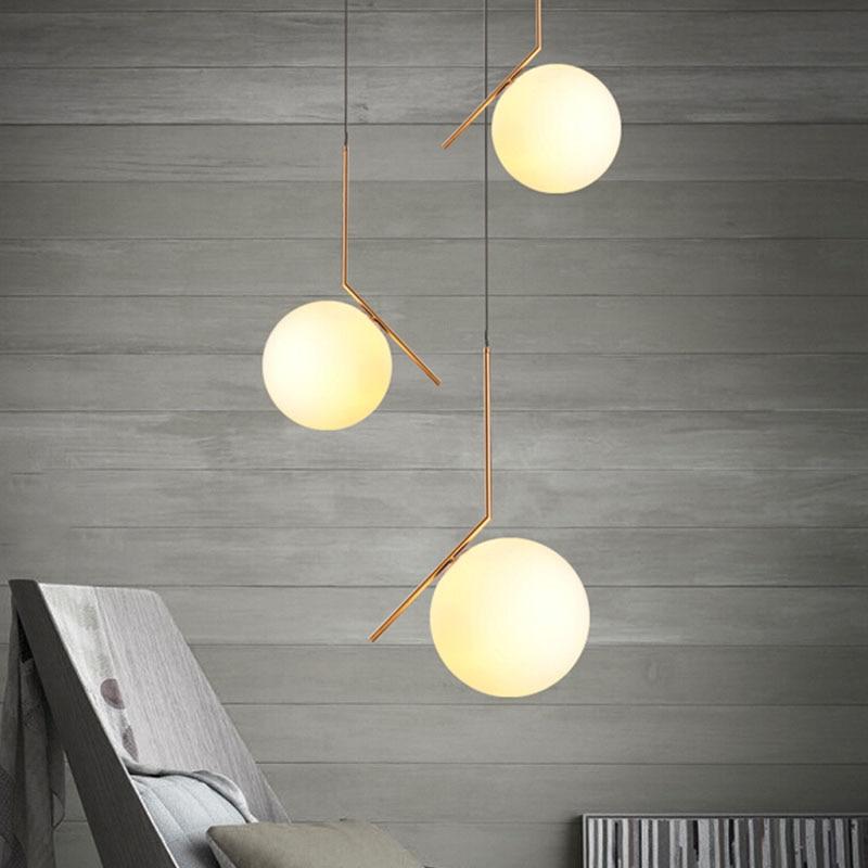 US $53.1 55% di SCONTO|Flos palla di vetro ciondolo luce moderna lampada a  sospensione per soggiorno/camera da letto/sala da pranzo art deco lampara  ...