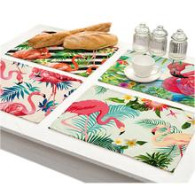 Flamingo Printed Cloth Placemats Coaster Tropic Plant Waterproof Table Mat Kitchen Accessories Decoration Home Dish Pad Mat Cup flamingo print table mat