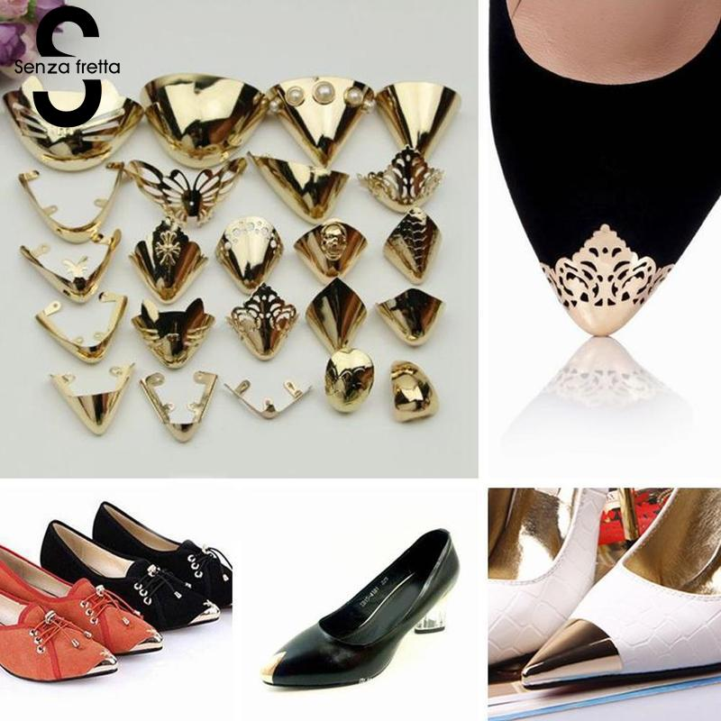 Senza Fretta 1Pair Shoes Toe Protection Metal Material Shoes Clips For Decorations High Heels Shoe Broken Reapair Accessories