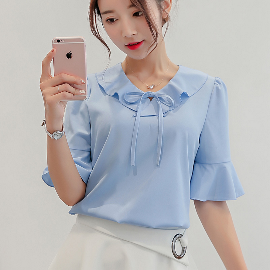 New Women Short Sleeve Casual Chiffon Blouse Fashion Korean Tops Elegant Women Clothes Streetwear Summer 2019 Women Blue Shirt