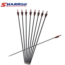 Sharrow 31.5 Fiberglass Arrow Rubber Feather for Compound Bow Recurve Hunting