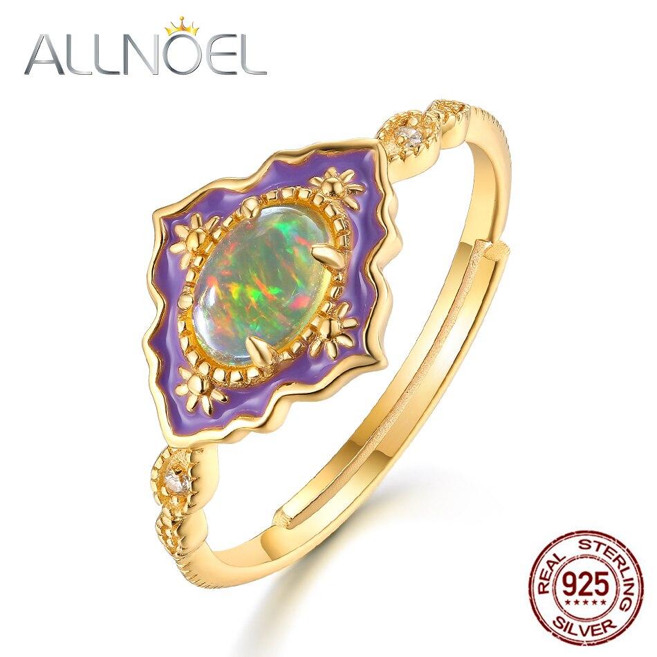 ALLNOEL 925 Sterling Silver Gemstone Rings For Women Vintage Real Natural Fire Opal Enamel Rainbow Ring Wedding Fine Jewelry