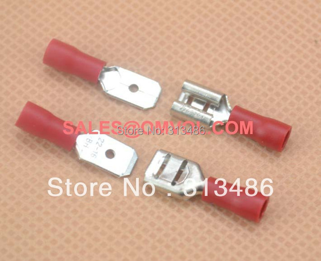 6.3mm 100pcs Female and 100pcs Male Insulated Wire Terminal Connectors 22-16 AWG