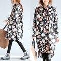 Más tamaño mujeres clothing primavera y otoño camisa de la flor de la blusa larga floja femenina camisa femenina de algodón de gran tamaño