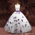 2016 Nuevo Vestido de Boda Elegante Púrpura Y Blanco de La Mariposa Princesa vestido de Bola Por Encargo de Novia Sin Tirantes Vestido de Los Vestidos 16080501