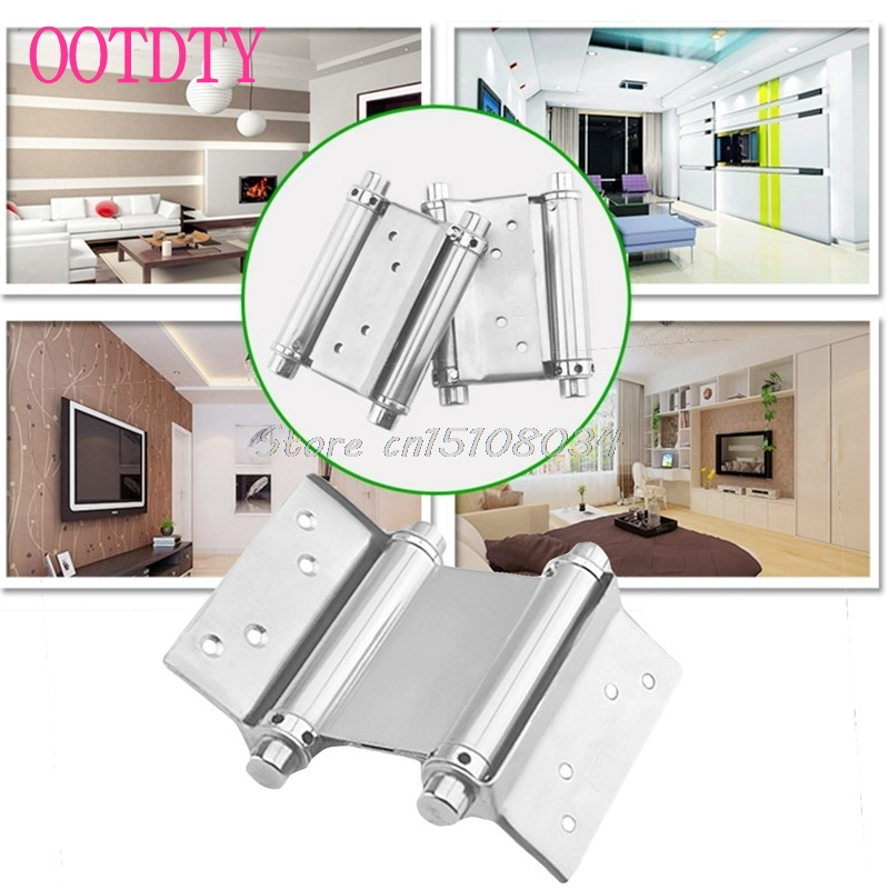 2Pcs 3 Stainless Steel Inch Double Action Spring Hinge Saloon Cafe Door Swing #S018Y# High Quality