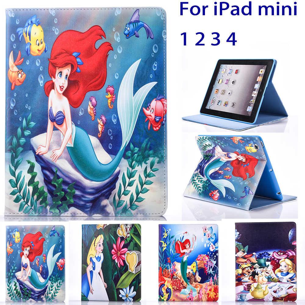 Планшет чехол для Apple Ipad Mini 1 2 3 Mini 4 Флип Стенд Алиса в стране чудес и Русалочка Обложка для печати основа пара чехлов
