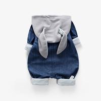Cartoon Denim Cotton Infant Baby Rompers Hoodies Boys Girls Rabbit Ear Jumpsuit Long Sleeve Autumn Newborn Outfits E260