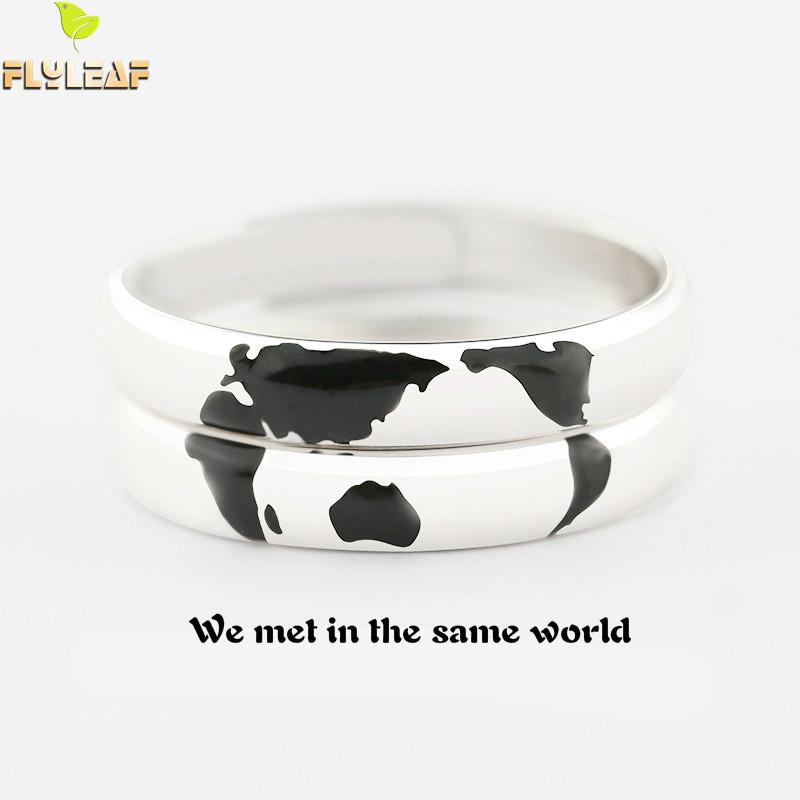 100% 925 Sterling Silver Rings For Women Hemisphere World Map Jewelry Couple Open Ring Men Femme Love's Gift Valentine's Day