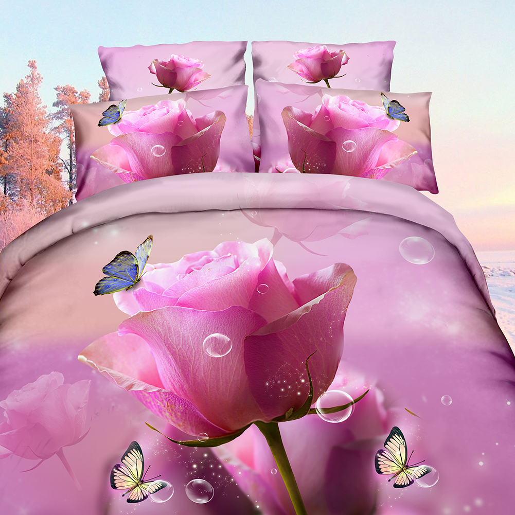 High quality breathable fabric 3D Printed Flower Bedding Set Twin/Queen Bed HD Duvet Quilt Cover Pillowcase for HouseholdHigh quality breathable fabric 3D Printed Flower Bedding Set Twin/Queen Bed HD Duvet Quilt Cover Pillowcase for Household