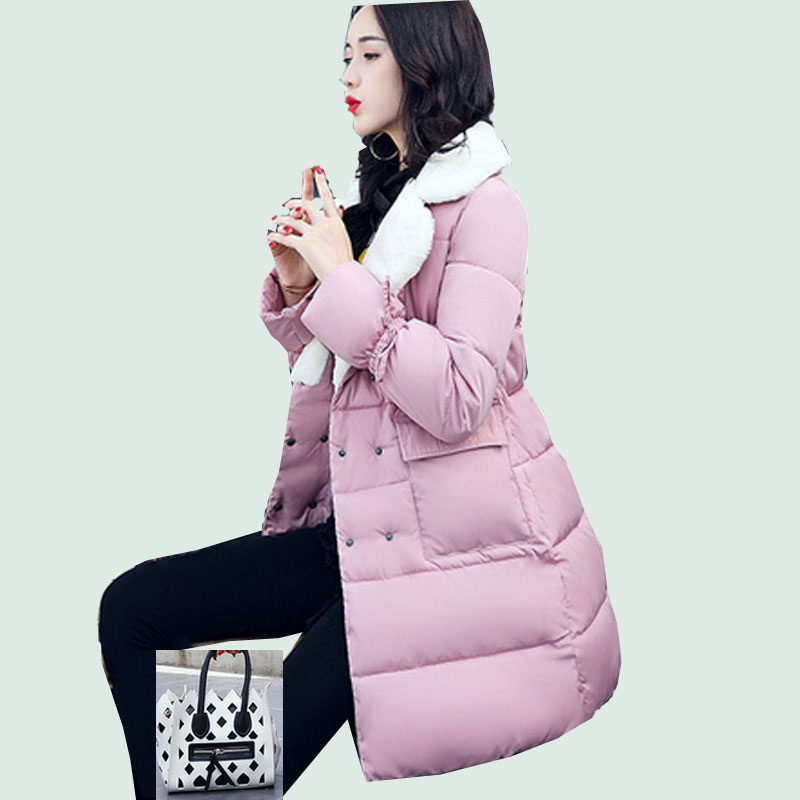 Women Lambs Coat Jacket Warm Woman Parkas Female Overcoat High Quality Quilting Down Cotton Coat 2017 New Winter Collection tfmln 2017 new warm women parkas down cotton jacket hooded coat woman outwear clothes winter high quality jacket with pockets