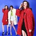 2015 осень зима Европейских и Американских женщин мода сплошной красный искусственного меха куртка верхняя одежда свободные длинные шерсти ягнят пальто D3963