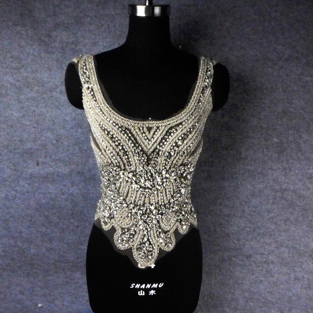 La Belleza Silber auf nuder netz Super hevery handgemachte strass perlen patch hochzeitskleid zubehör 3 stück ein satz-in Aufnäher aus Heim und Garten bei  Gruppe 1