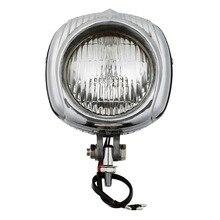 Retro Electroline 4 Headlight Orange/Clear Lens For Harley Sportster Chopper Bobber Custom Bikes