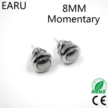 1pc 8mm Momentary Metal Stainless Steel Horn Doorbell Bell Push Button Switch Waterproof Car Auto Engine PC Power Start Starter image