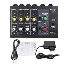 Ammoon AM-228 초소형 저잡음 8 채널 메탈 모노 스테레오 오디오 사운드 믹서 (전원 어댑터 케이블 포함)