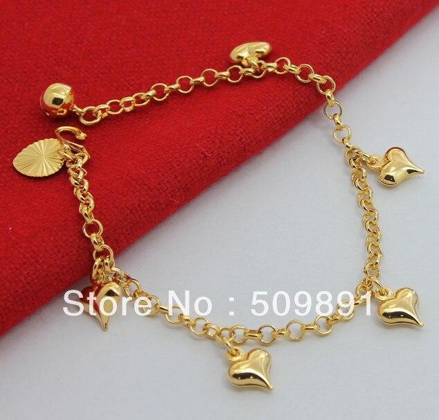 New Fashion 24k Gold Colou Multi Charm Bracelet Heart Pendant Kid