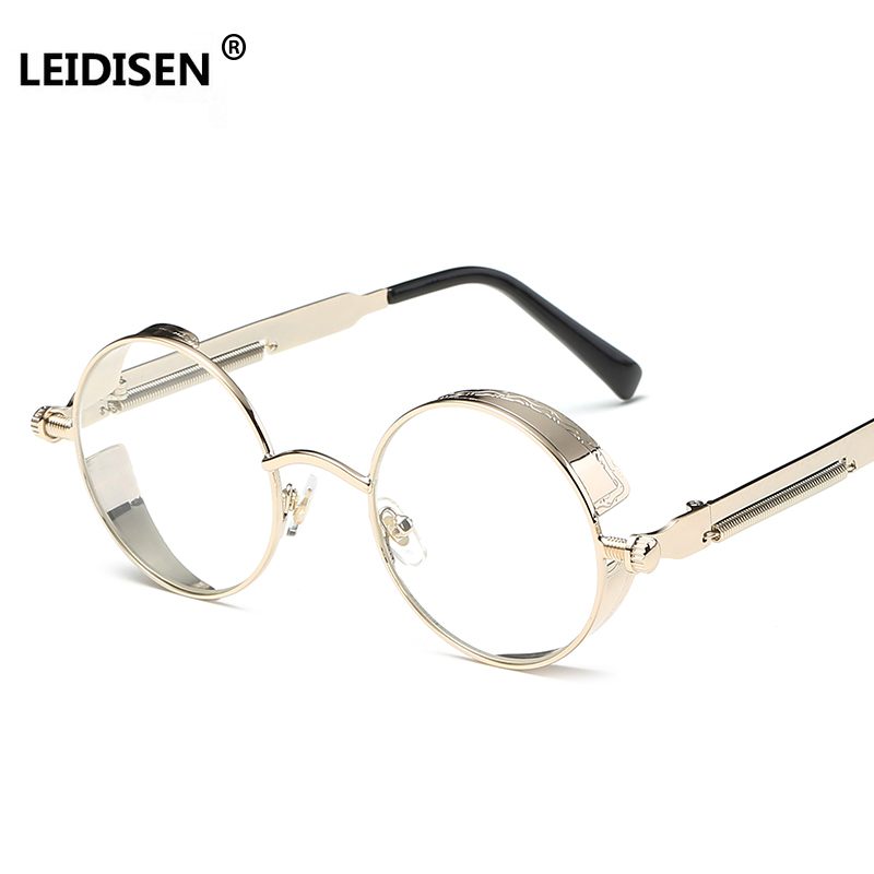 LEIDISEN Gothic Steampunk Mens Sunglasses Coating Mirrored Sunglasses Round Circle Sun glasses Retro Vintage Gafas Masculino Sol