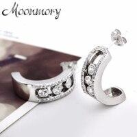Moonmory Silver 925 Stone Stud Earrings Luxury Brand Jewelry 2017 European Fashion Stud Earrings For Women Christmas Gifts