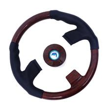 3/4 inch Shaft Boat Wooden Retro Steering Wheel, 3 Spokes Steering Wheel for Marine Boat Yacht цена в Москве и Питере
