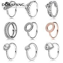 Dorapang 100% ANILLO DE PLATA 925 moda popular Amuletos anillo de bodas para las mujeres amantes en forma de corazón redondo Anillos DIY joyería