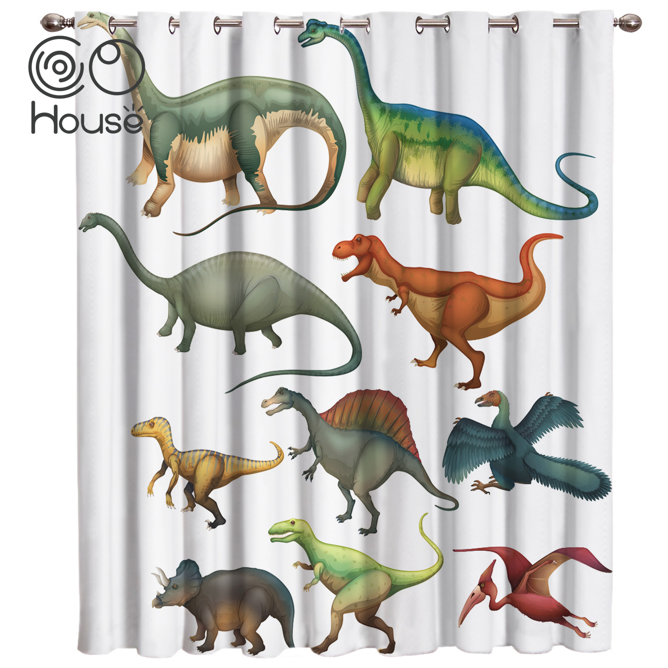 COCOHouse Different Types Of Dinosaurs Room Curtains Large Window Living Room Bathroom Blackout Bedroom Drapes Fabric Kids