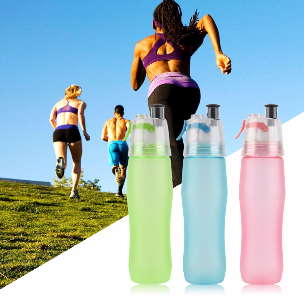 740ML Creative Sports Spray Water Bottle Portable Atomizing Bottle Outdoor Cycling Sports Gym Drinking Drinkware Bottles
