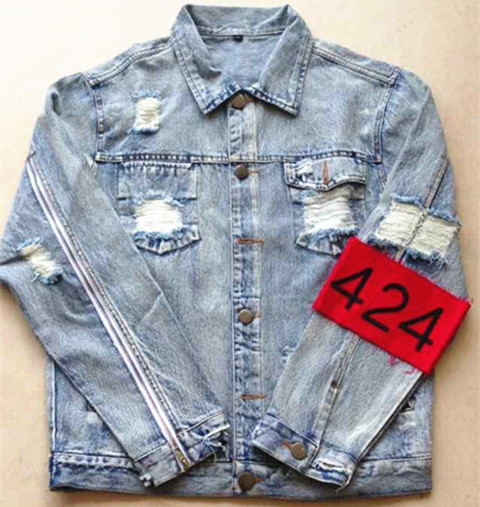ffd56b73f32 New mens hip hop ripped jeans denim jacket coat fear of god FourTwoFour 424  jeans jackets for men z14-in Jackets from Men s Clothing on Aliexpress.com  ...
