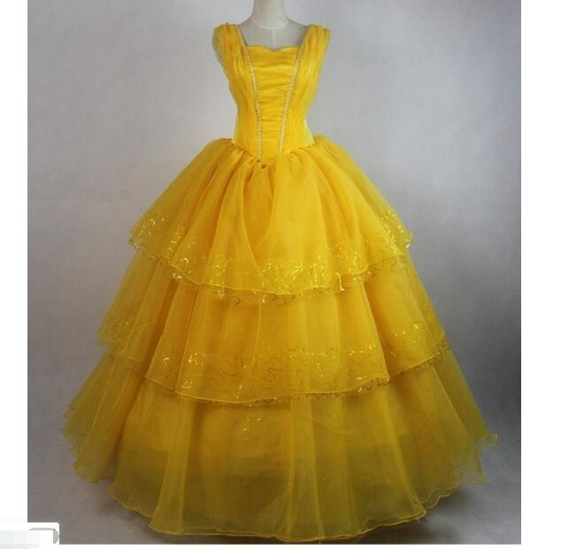 Same day ship Beauty Beast Costume Adult Princess Belle Dress Party Christmas Halloween Dress Cosplay Carnival Fancy Costume