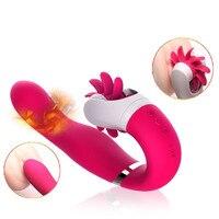2019 12 Speeds Rotation Tongue Licking Heating Dildo Vibrators,Female Masturbator Sex Toys for Women,Sex Products Adult Supplies