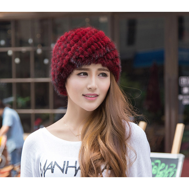 888030772dd24 Ms.MinShu Brand Mink Fur Caps Genuine Mink Fur Hat Winter Fashion Female  Real Mink Fur Hat Hand Knitted Thicken Russian Fur Hat-in Skullies &  Beanies ...