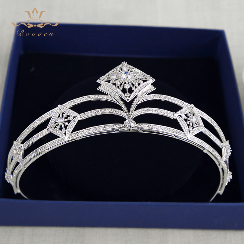Bavoen Stunning Zircon Brides Tiaras Crowns Silver Crystal Hairbands Headpieces Wedding Hair Accessories Bridesmaid JewelryBavoen Stunning Zircon Brides Tiaras Crowns Silver Crystal Hairbands Headpieces Wedding Hair Accessories Bridesmaid Jewelry