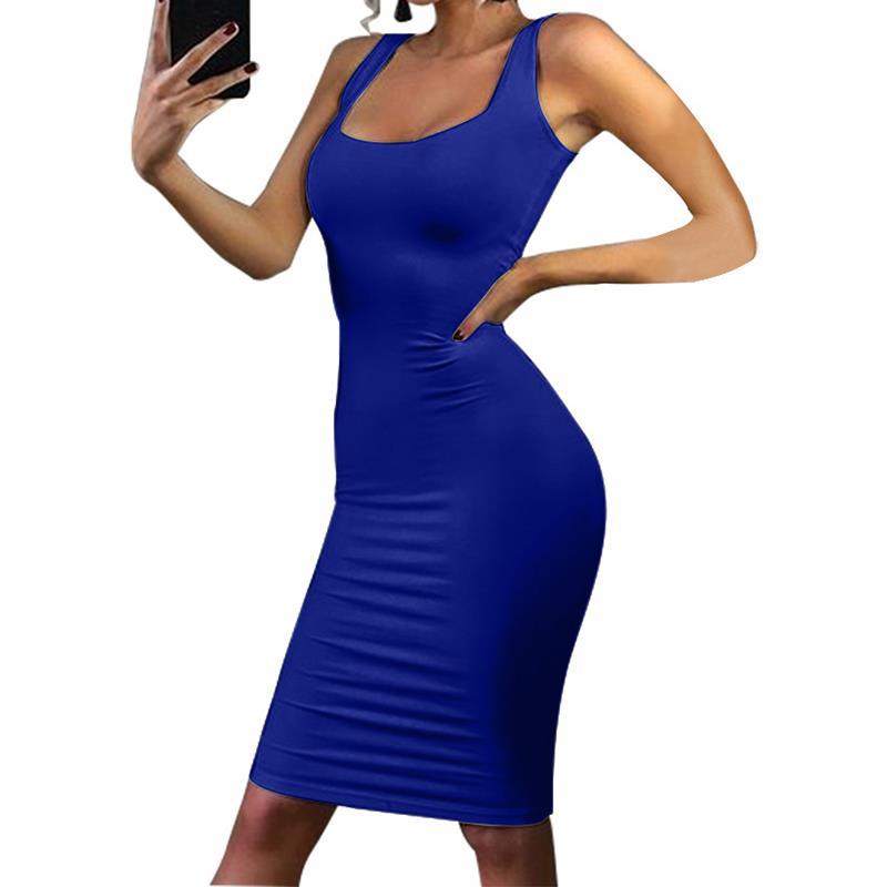 2018 NEW Summer Dress Tank Top Pencil Vestido Sleeveless Vest Dress Sheath Bodycon Party Clubwear Midi Vestidos Tunic WS5143Y