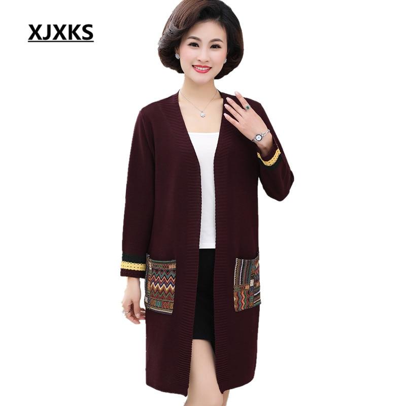 31e7e055b7fb XJXKS Women s Knit Cardigan 2018 New Loose Plus Size V-neck High Quality  Long Cashmere Sweater Women Cardigan