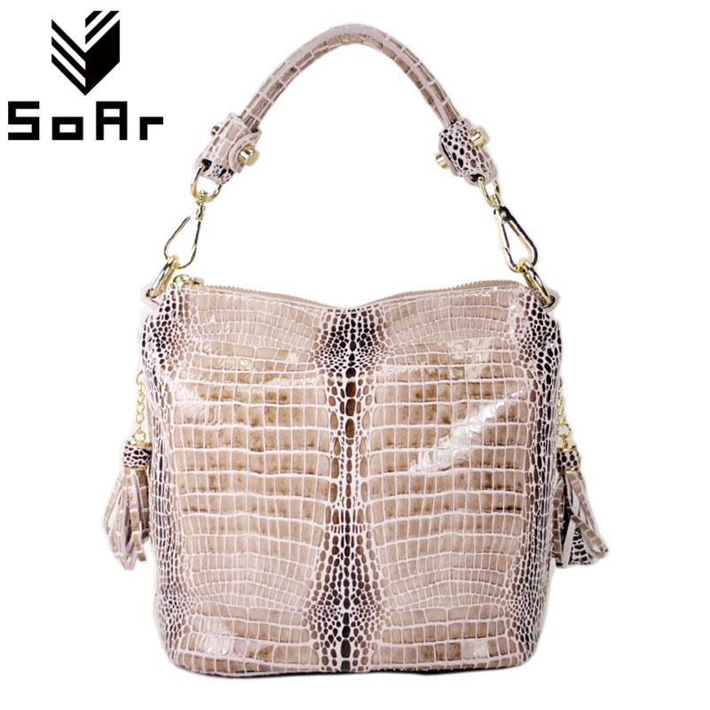 SoAr Luxury Handbags Women Bags Designer Genuine Leather Shoulder Messenger Bags Tassel Serpentine Cowhide Ladies Totes Hand Bag women genuine leather handbags ladies personality new head layer cowhide shoulder messenger bags hand rub color female handbags