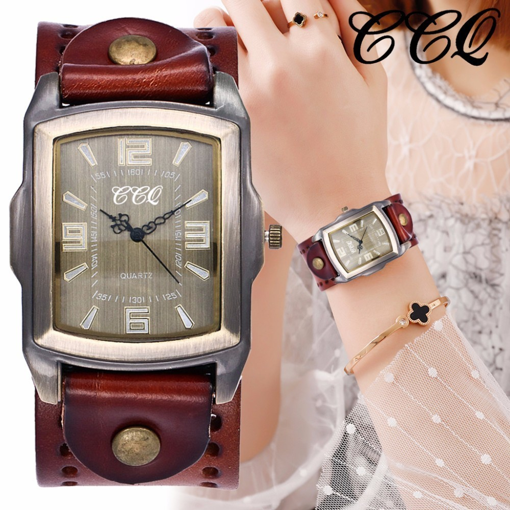 CCQ Brand Women Men Genuine Vintage Leather Watches Casual Female Male Quartz Watch Clock Dropshipping