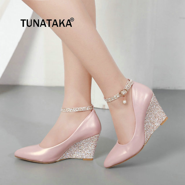 Rosa preto Branco Cunha Sapatos para Mulheres Cunhas de Salto Alto com Tira No Tornozelo Bombas Dedo Apontado Elegantes Sapatos de Casamento Das Senhoras 2019