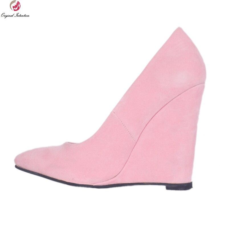 Original Intention Super Elegant Women Pumps Fashion Pointed Toe Wedges Pumps Gorgeous Pink Shoes Woman Plus US Size 4-15