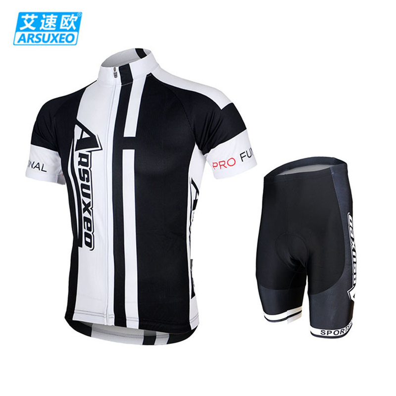ARSUXEO Men Cycling Bike Bicycle Short Sleeves Jersey + 3D Coolmax Padded Shorts Suit Mountain MTB Road Bike Clothing Set arsuxeo cycling short pants