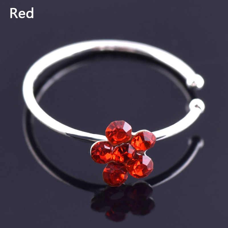 1PC sprzedaż kolorowe nozdrza ze noskiem Hoop Plum pierścienie nosowe nakładane na nos pierścień fałszywy piercing biżuteria do ciała dla kobiet